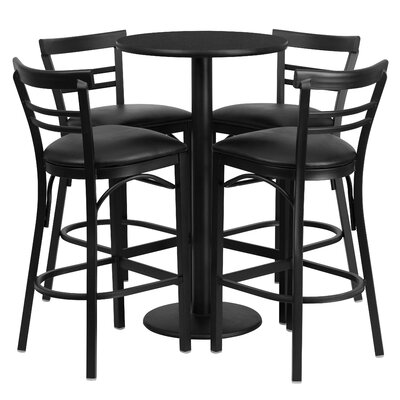 Naro 5 Piece Pub Table Set Finish: Black