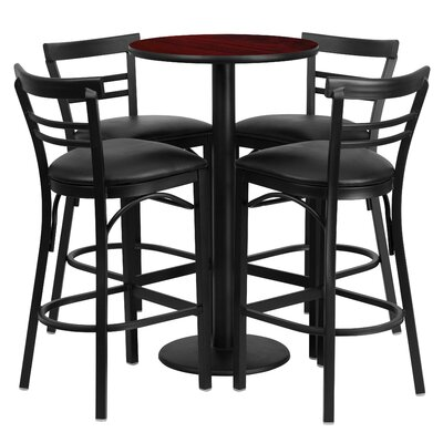 Naro 5 Piece Pub Table Set Color: Mahogany