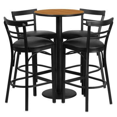 Naro 5 Piece Pub Table Set Color: Natural