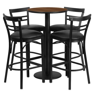 Naro 5 Piece Pub Table Set Color: Walnut