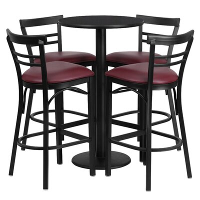 5 Piece Pub Table Set Finish: Black