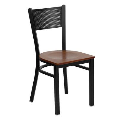 Hercules Series Grid Back Side Chair Upholstery: Cherry Wood