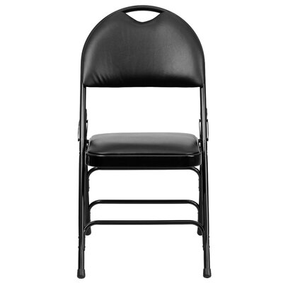 Hercules Series Personalized Folding Chair with Easy-Carry Handle Color: Black image