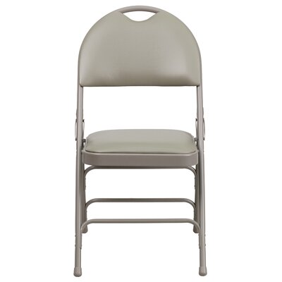 Hercules Series Personalized Folding Chair with Easy-Carry Handle Color: Gray