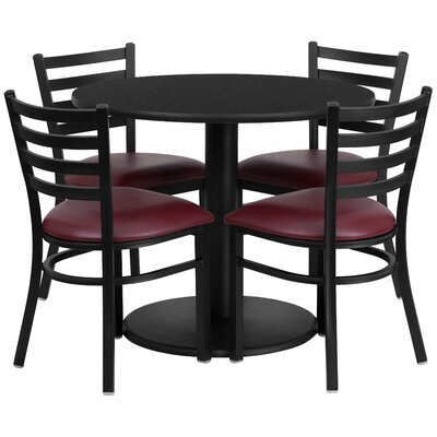 Peng 5 Piece Dining Set Finish: Black