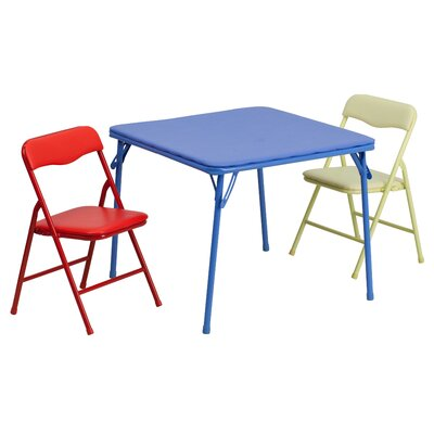 Folding Kids 3 Piece Square Table and Chair Set JB-10-CARD-GG