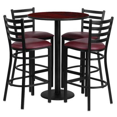 Aniket 5 Piece Pub Table Set Color: Mahogany