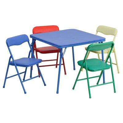 Kids 5 Piece Folding Square Table and Chair Set JB-9-KID-GG