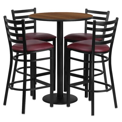 Aniket 5 Piece Pub Table Set Color: Walnut