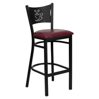 Dillman 29 Bar Stool (Set of 2) Upholstery: Burgundy Vinyl