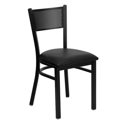 Chafin Grid Back Side Chair Upholstery: Black Vinyl