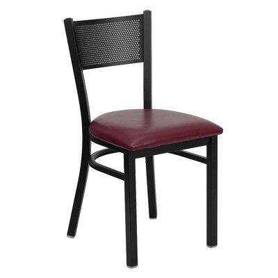 Hercules Series Grid Back Side Chair Upholstery: Burgundy Vinyl