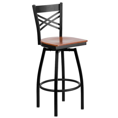 Thornfeldt 30.25 Swivel Bar Stool (Set of 2) Upholstery: Cherry
