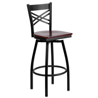 Thornfeldt 30.25 Swivel Bar Stool (Set of 2) Upholstery: Mahogany