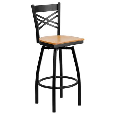 Thornfeldt 30.25 Swivel Bar Stool (Set of 2) Upholstery: Natural