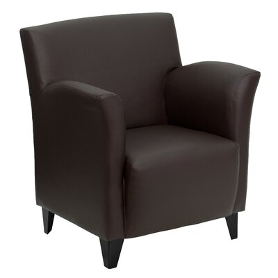 Dillman Reception Leather Lounge Chair Leather: Brown