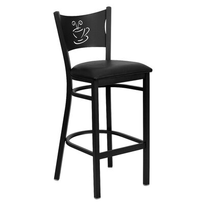 Dillman 29 Bar Stool (Set of 2) Upholstery: Black Vinyl