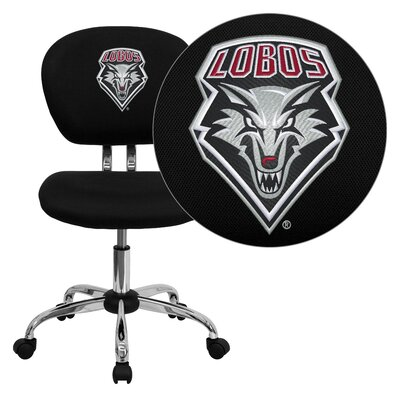 NCAA Embroidered Mid-Back Mesh Task Chair NCAA Team: New Mexico Arms: Not Included