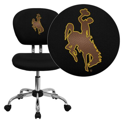 NCAA Embroidered Mid-Back Mesh Task Chair NCAA Team: Wyoming Arms: Not Included image