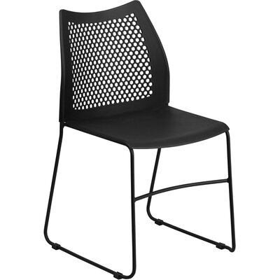 Flora Sled Base Stackable Side Chair Guest Chair Color: Black