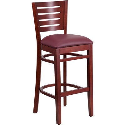 Arnault 31.5 Bar Stool Finish: Mahogany, Upholstery: Burgundy