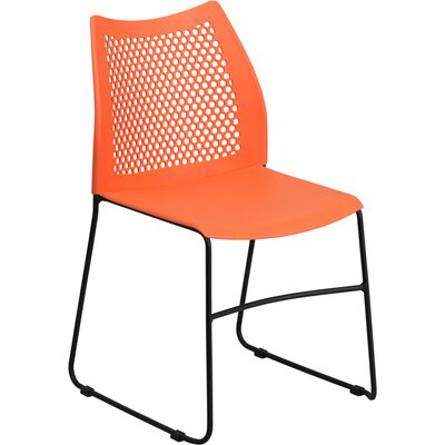 Flora Sled Base Stackable Side Chair Guest Chair Color: Orange