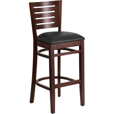 Arnault 31.5 Bar Stool Finish: Walnut, Upholstery: Black