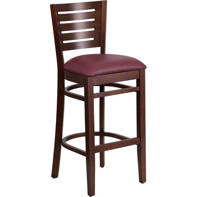 Darby Series 31.5 Bar Stool Upholstery: Burgundy, Finish: Walnut