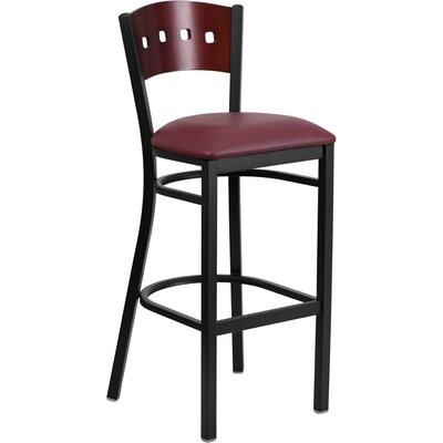Thornfeldt 32 Bar Stool Upholstery: Burgundy