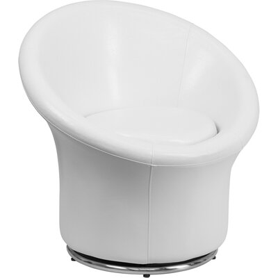 Muhammad Swivel Leather Lounge Chair Color: White