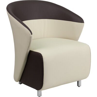 Leather Lounge Chair Color: Beige / Dark Brown