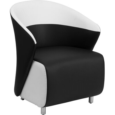 Leather Lounge Chair Color: Black / White