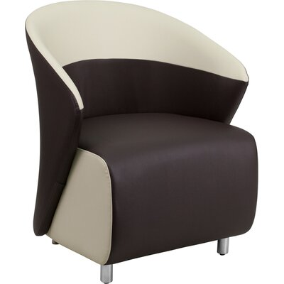 Naved Leather Lounge Chair Color: Dark Brown / Beige