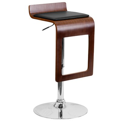 Walnut Bentwood Adjustable Height Swivel Bar Stool