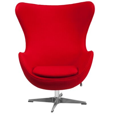 Egg Arm Chair Upholstery: Red