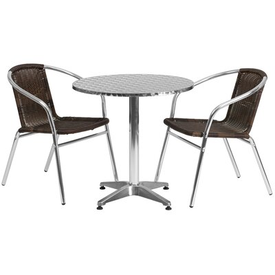 Round 3 Piece Bistro Dining Set Table Size: 27.25 H x 27.5 W x 27.5 D