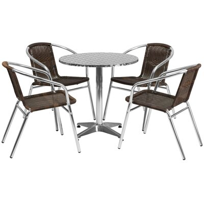 Round 5 Piece Dining Set Table Size: 27.25 H x 27.5 W x 27.5 D