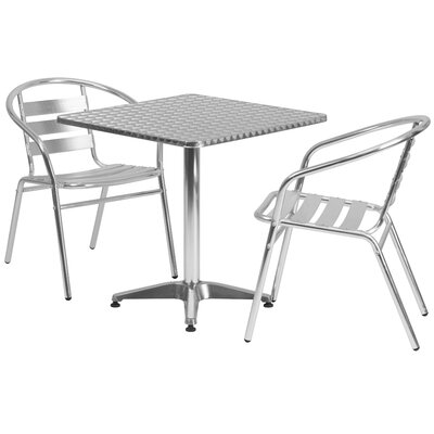 Square 3 Piece Bistro Dining Set Table Size: 27.25 H x 27.5 W x 27.5 D