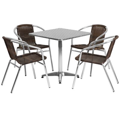 Square 5 Piece Dining Set Table Size: 27.25 H x 27.5 W x 27.5 D