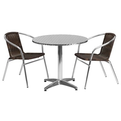 Round 3 Piece Bistro Dining Set Table Size: 27.25 H x 31.5 W x 31.5 D