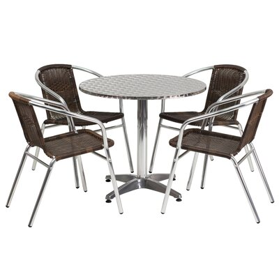 Round 5 Piece Dining Set Table Size: 27.25 H x 31.5 W x 31.5 D