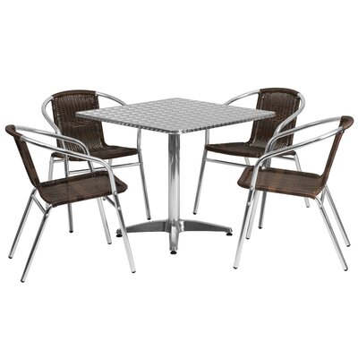 Square 5 Piece Dining Set Table Size: 27.25 H x 31.5 W x 31.5 D