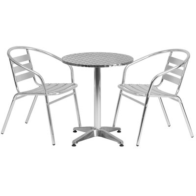 Round 3 Piece Dining Set Table Size: 27.25 H x 23.5 W x 23.5 D