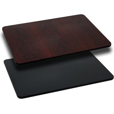 Rectangular Reversible Laminate Table Top Quantity: Set of 10, Finish: Black or Mahogany, Size: 30W x 48L