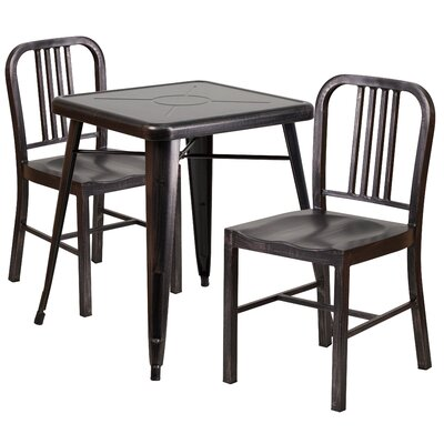 3 Piece Bistro Set Finish: Black / Antique Gold