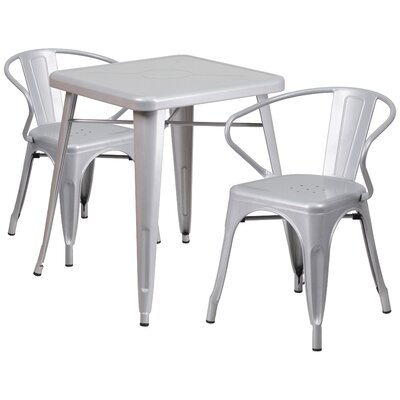3 Piece Bistro Set Finish: Silver