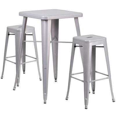 Athens 3 Piece Bar Table Set Finish: Silver
