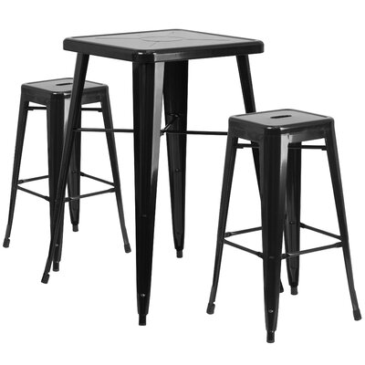 Athens 3 Piece Bar Table Set Finish: Black