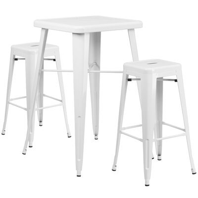 3 Piece Bar Table Set Finish: White