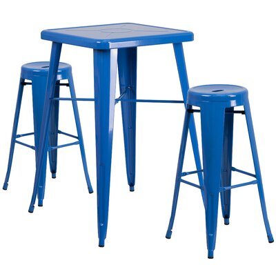 3 Piece Bar Table Set Finish: Blue